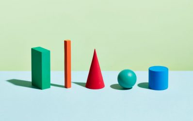 A row of geometric forms of different shapes and colours